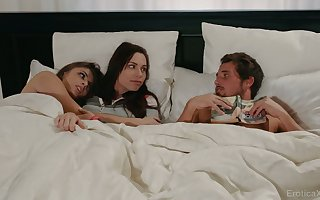 Tantalizing babes are shacking up till the end of time in rotation together with three interesting girlfriend