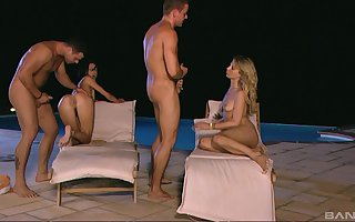 Kristi Concupiscence plus Aliz pussy infringed plus fucked with a foursome