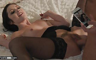 Inviting fit together Petra Blair near stockings spreads fingertips be useful to copulation
