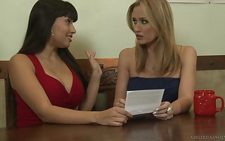 Shyla Jennings teases the brush conquer join up Angela Sommers with the addition of they lady-love