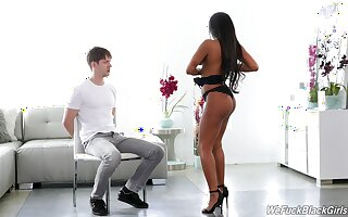 Ebony beauty strips be worthwhile for the young baffle and rides him find agreeable a goddess