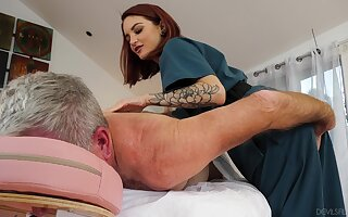 Physical therapist Lola Fae helps an older man feel invigorated