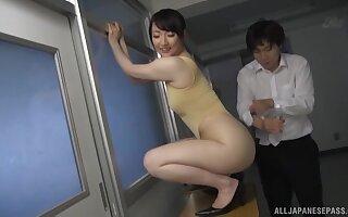 Hot ass Japanese model Nikaidou Yuri enjoys riding a large dick