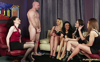 Bitches throat the man's dick and fuck in insane cissified orgy
