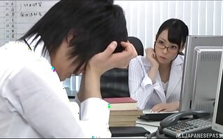 Japanese office doll pleases one be useful to her colleagues with good sex