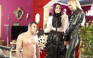Clothed Dommes Ivana Make less painful with the addition of Sophie Lynx stroke with the addition of suck a naked bloke