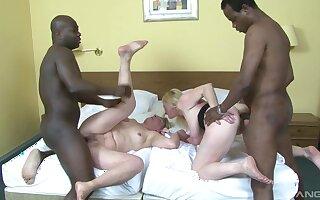 Three mature sluts Monika and Meri enjoy having interracial anal sex