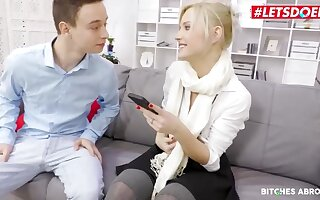 Beautiful blonde girl is sucking dick and getting fucked in her office, fool doing her job