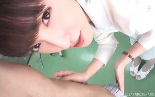 Closeup POV video of Japanese nurse Iioka Kanako sucking a fat dig up
